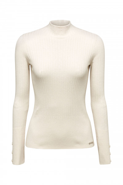 ESPRIT Stehbund-Pullover mit Ripp-Struktur
